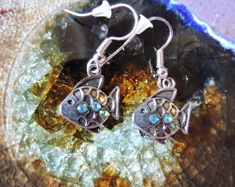 Adorable Fish Earrings with tiny blue stones