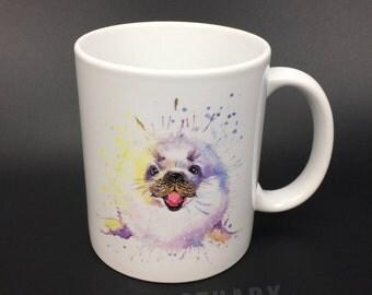 Snow Seal Watercolor Ceramic Mug 350ml丨Sea Lion Mug丨Watercolor Animal Mug丨Watercolor Mug丨Watercolor Coffee Mug丨Watercolor Tea Mug丨ZANCTUARY