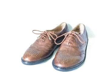 Men's wingtip leather shoes size 10M - Pesaro leather shoes - Men's brown oxford shoes - Mens size 10 - Men's brown dress shoes