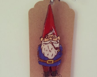 laser cut wood hipster gnome brooch