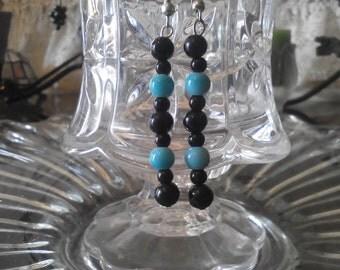 teal and black earrings