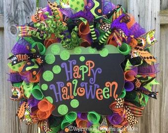 Halloween Wreath, Witch Wreath, Halloween Mesh Wreath, Witch Mesh Wreath, Witch Cauldron Wreath