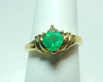 Colombian Emerald Engagement Ring 0.58 TCW-14K Yellow Gold Ring Size 6 US Muzo