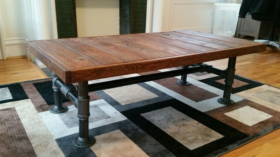 Industrial reclaimed wood coffee table by fallenoakstudios for Industrial farmhouse coffee table