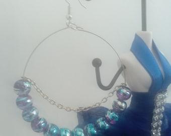 Large purple,turquoise and silver hoop earrings
