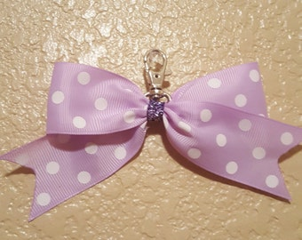 Lavender with White Polka Dots Back-Pack Bow