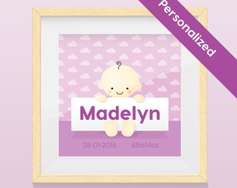 Personalized Portrait Nursery Art-  Baby Girl - Art Print / Wall Art with name and image