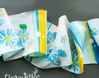 Silk scarf Hand Painted White Yellow Turquoise Blue Flowers and Stripes Gift for Coworker Womens Scarves Woman Necktie Silk Hair Scarf