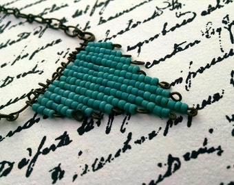 Triangle Teal Bead Necklace