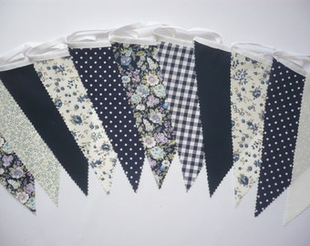 "40 Foot Navy Mix - Wedding / Celebration Fabric Bunting ""Shades of Navy"""