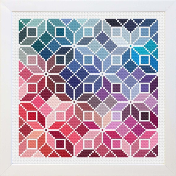 Quilt Patterns Cross Stitch : Small Counted Cross Stitch Rainbow Quilt Pattern