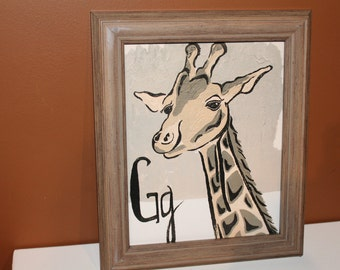 Framed Giraffe painting for neutral nursery