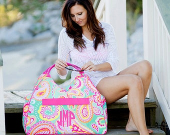 Monogrammed Beach Bag/ Summer Paisley Beach Bag/ Beach Bag/ FREE MONOGRAM