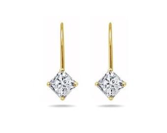 Solid 10k princess cut lever back studs earrings