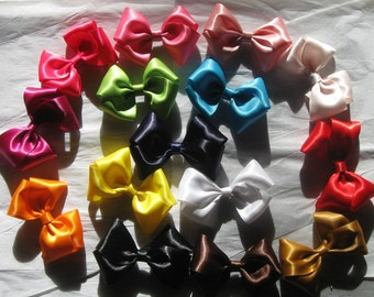 Satin Bow, Boutique Bow, Set of 5 Bows, Girl Bow, Girl Hair Clip, Baby Bow, Hair Bows, Girls, Baby Girl, Bows, Hair Clips, Satin Baby Bows