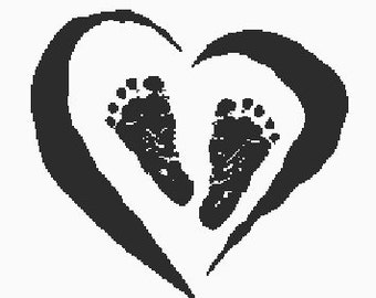 Baby footprints in heart- A digital embroidery file download