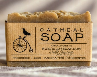 Oatmeal Soap - Rustic Soap, All Natural Soap, Handmade Soap, oat milk, Fragrance Free Soap