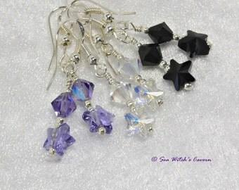 Crystal Star Earrings   Best friend Gift Earrings   Swarovski Star Earrings   Earring Gift Idea   Star Crystal Drops in 3 Colours   A0466