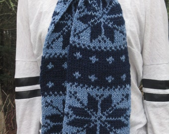 Blue Fair Isle Double Knit Scarf