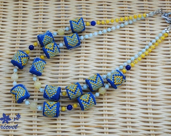 Jewelry «Coloring» Bib necklace Embroidered jewelry Beads Necklace Yellow / Blue / Blue Lt Ukrainian folk