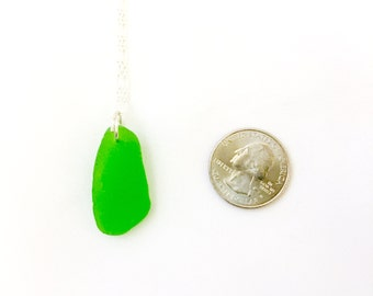 Lime Green Sea Glass Sterling Silver Necklace