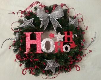 Red & Silver HOHOHO Wreath 55cm