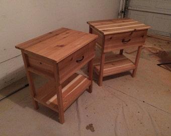 Cedar Night Stand w/ Drawer and Bottom Shelf
