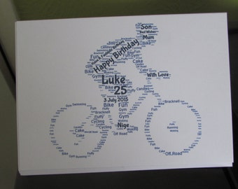 Personalised Word Art Greetings Card - Bike / Bicycle - Riding - Cycle - Racing - Birthday - Anniversay - Special Occasion - Thank You
