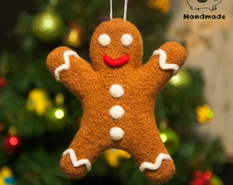 Gingerbread man - needle felted toy - Ornament, Christmas Tree Decoration, Needle Felted Wool Ornament, Fairytale Food