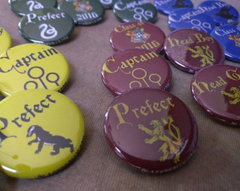"Hogwarts House colors buttons 1.25"" / 32mm pin back badges/ Hufflepuff, Gryffindor, Ravenclaw, Slytherin - Prefect, Head Boy/Girl, Captain"