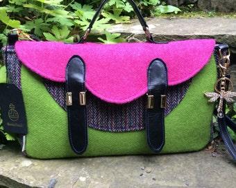 Nyla Pink and Lime Green Harris Tweed Bag