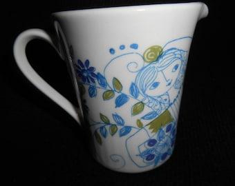 Vintage Turi Design LOTTE Mini Creamer 3oz ~ Woman ~ Hand Painted Silkscreen Scandinavian Folk Art Figgjo Flint Norway