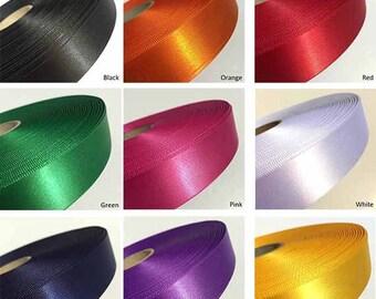 Flat Ribbon - Per 2 Metre - Single Satin Ribbon - 10 colours
