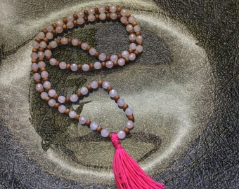 Handmade, 8mm Rose Quartz & Sandalwood tassel necklace/bracelet, Semi-precious stones, Energy Healing Jewerly, Metaphysical, Intuitive, Love