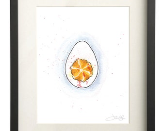 Deviled Egg Watercolor | Southern Art Print | Watercolor Eggs | Food Illustration | Foodie Gift | 8x10 Print
