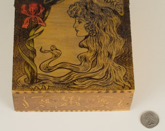 Art Nouveau Colored Wood Handkerchief Box Pyrography-Look