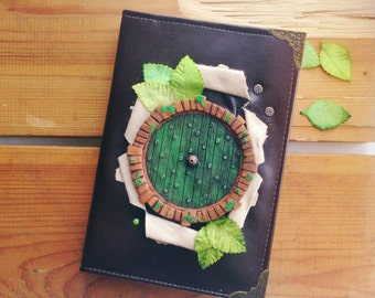 Notebook, journal with polymer clay cover, Black handmade diary with Bilbo Baggins green door (A5)