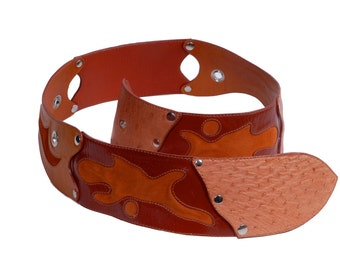 Roberta belt ostrich and leather