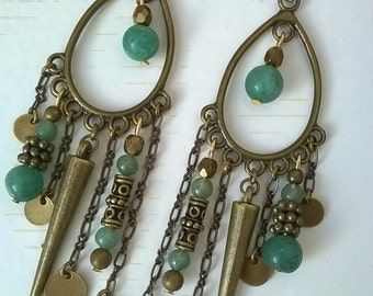 Jade and brass earrings