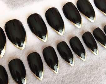 Black Stiletto Faux Nails * Gold Tips * Stiletto Nails * Fake Nails * Glue On Nails * Black Nails