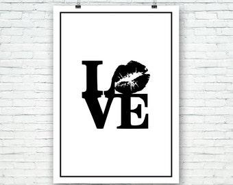 Love, con recuadro, arte para pared, láminas imprimibles, Poster, tipografía, motivacional, Ilustración Amor