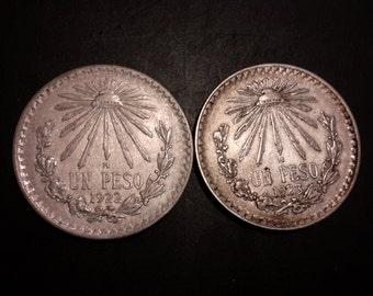 1922 Un Peso and 1923 Un Peso Mexican Silver Coins