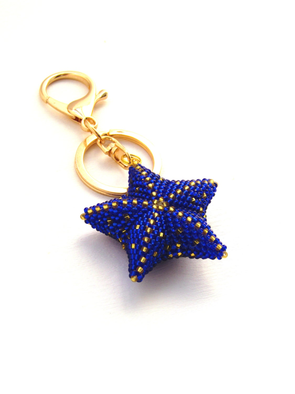 womens gift blue beaded keychain keychain bead bag charm