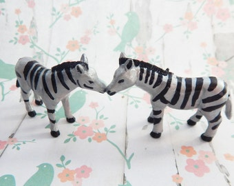 Two Silver Zebra Upcycled Figurines for a Fairy Garden or Terrarium