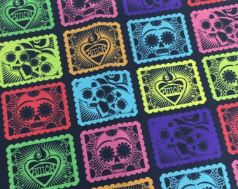 Papel Picado Black 1/2 yd