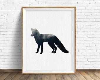 "fox print, fox art, nursery animal, kids printable art, nursery decor, nursery printable, animal print, woodland nursery, printable - ""Fox"""