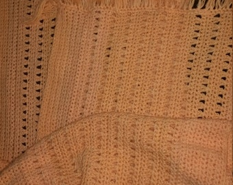 Peach Shawl with fringes