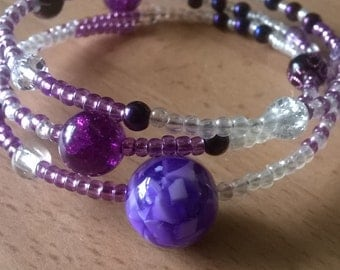 purple memory wire bracelet, sparkly beaded bracelet, purple beaded bracelet