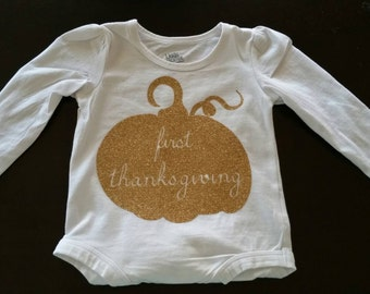 First Thanksgiving Onsie - Thanksgiving Bodysuit - Baby's First Thanksgiving - Baby's Holiday Shirt - Girls Holiday Outfit - Baby Holiday