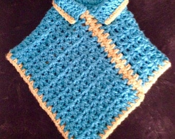 Childs Puncho, Turquoise and Yellow